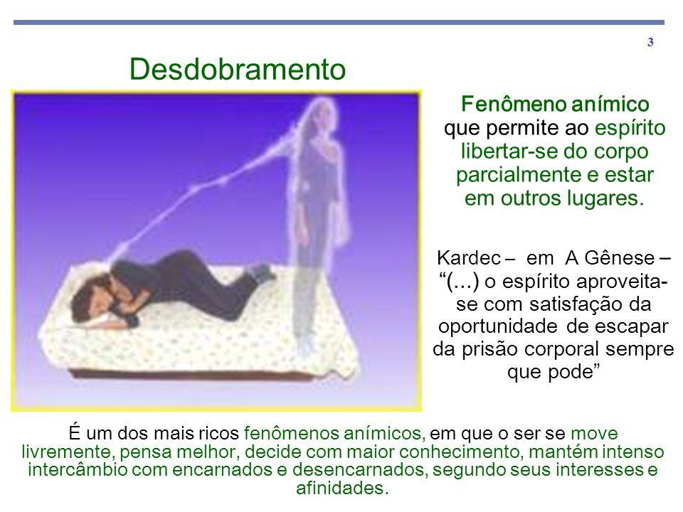 3 Desdobramento Fenômeno anímico que permite ao espírito libertar-se do corpo parcialmente e estar em outros lugares.