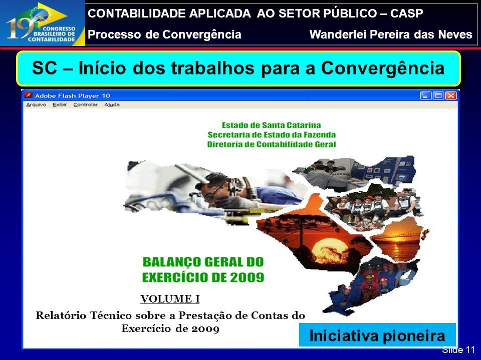 CONTABILIDADE APLICADA AO SETOR PÚBLICO – CASP Processo de ConvergênciaWanderlei Pereira das Neves Ações Implementadas em SC: Organização de carreira