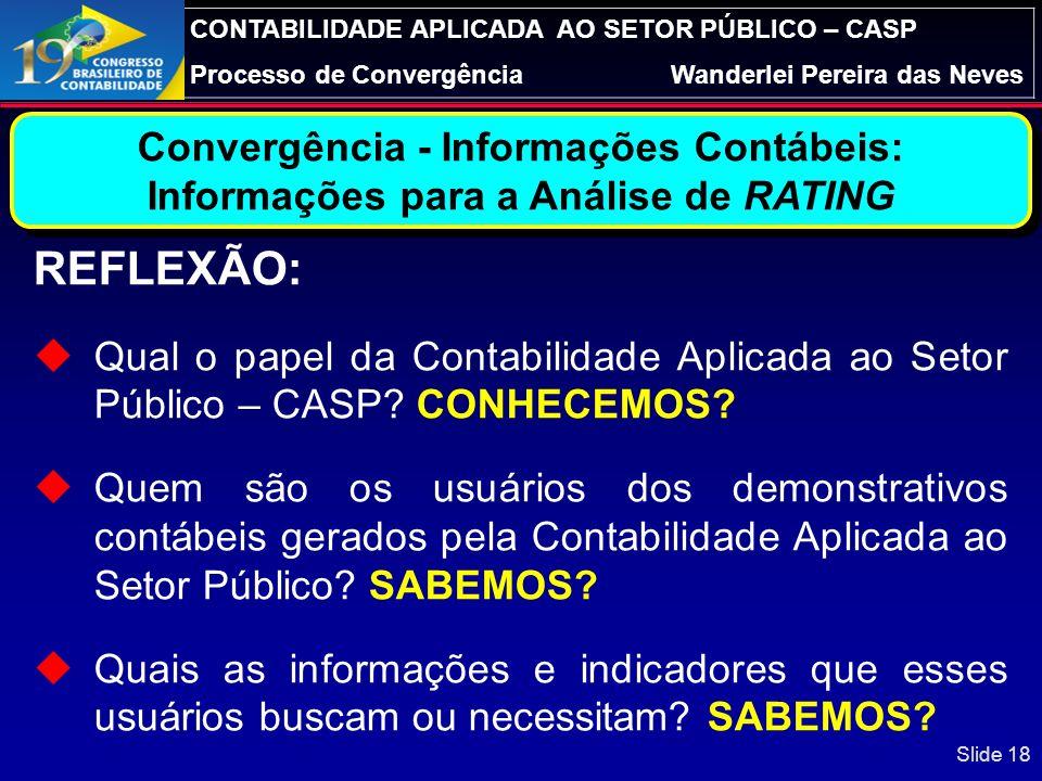 CONTABILIDADE APLICADA AO SETOR PÚBLICO – CASP Processo de ConvergênciaWanderlei Pereira das Neves Diretrizes para Elaboração do PCASP Controle do pat