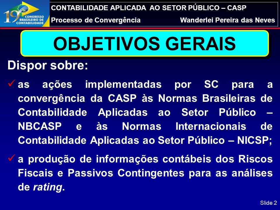 CONTABILIDADE APLICADA AO SETOR PÚBLICO – CASP Processo de ConvergênciaWanderlei Pereira das Neves A CONSOLIDAÇÃO DAS NBC T SP NO BRASIL: RISCOS FISCA