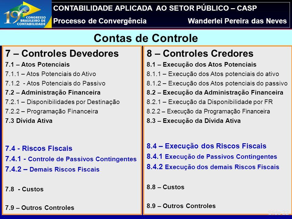 CONTABILIDADE APLICADA AO SETOR PÚBLICO – CASP Processo de ConvergênciaWanderlei Pereira das Neves 7 – Controles Devedores 7.1 – Atos Potenciais 7.2 –