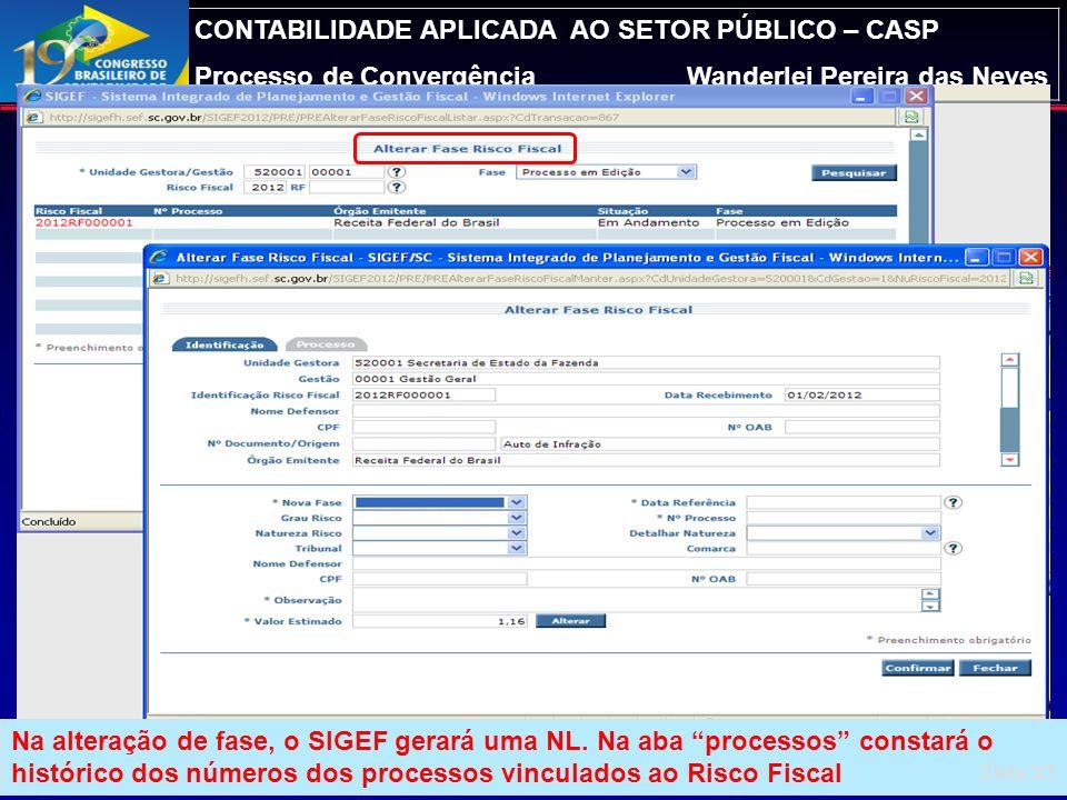CONTABILIDADE APLICADA AO SETOR PÚBLICO – CASP Processo de ConvergênciaWanderlei Pereira das Neves Módulo de Precatórios – Manter RF (cont.) Slide 32