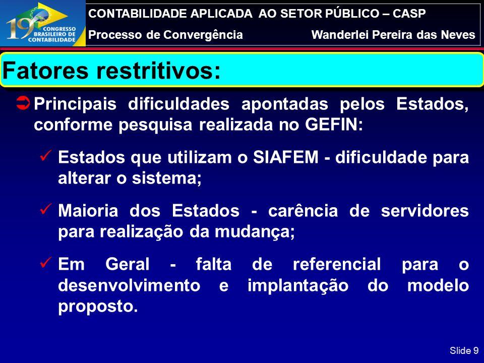 CONTABILIDADE APLICADA AO SETOR PÚBLICO – CASP Processo de ConvergênciaWanderlei Pereira das Neves Página 29 de 23 Slide 29