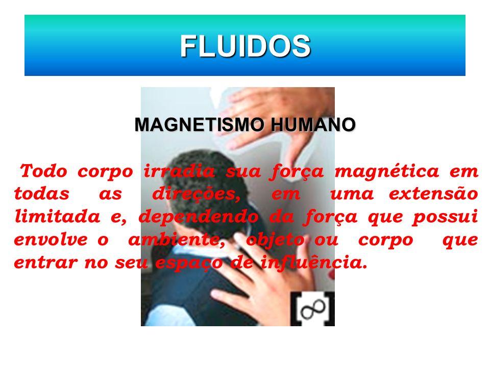 FLUIDOS MAGNETISMO HUMANO Todo corpo irradia sua força magnética em todas as direções, em uma extensão limitada e, dependendo da força que possui envo