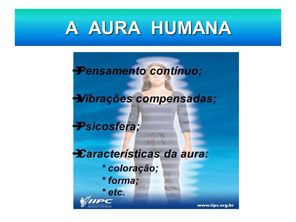A AURA HUMANA Pensamento contínuo; Vibrações compensadas; Psicosfera; Características da aura: * coloração; * forma; * etc.