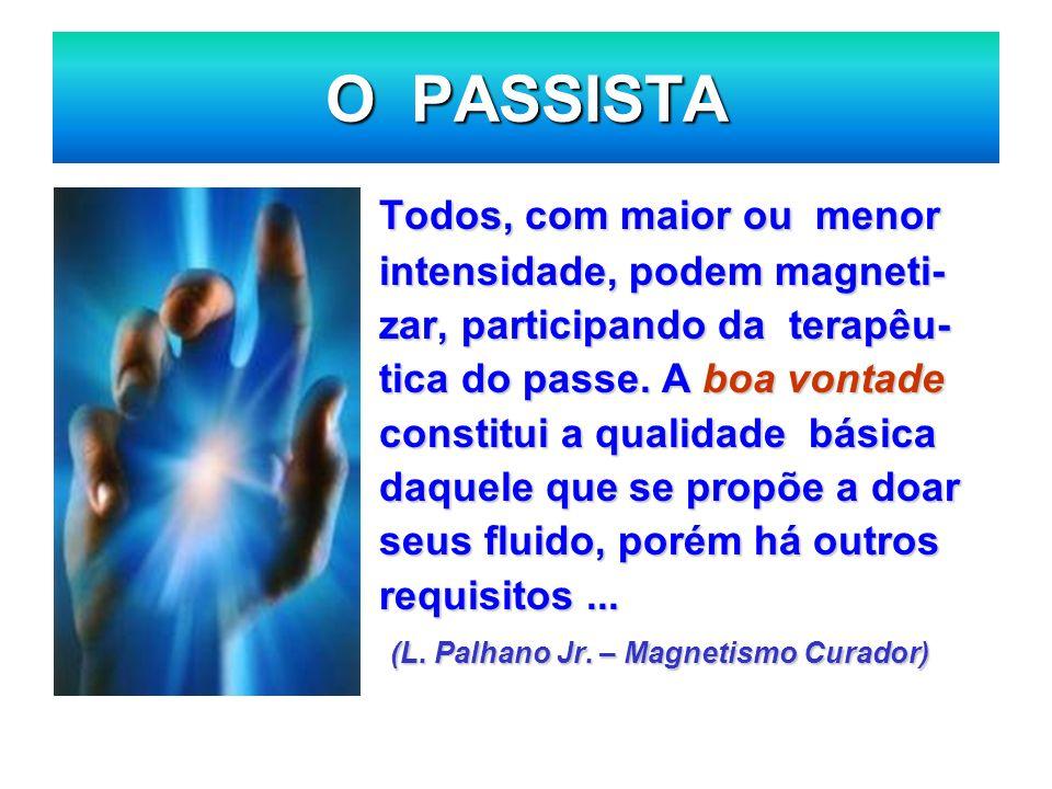 O PASSISTA Todos, com maior ou menor intensidade, podem magneti- zar, participando da terapêu- tica do passe. A boa vontade constitui a qualidade bási