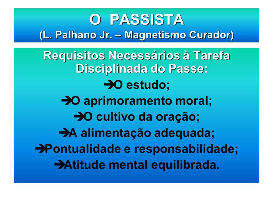 Requisitos Necessários à Tarefa Disciplinada do Passe: O estudo; O aprimoramento moral; O cultivo da oração; A alimentação adequada; Pontualidade e re