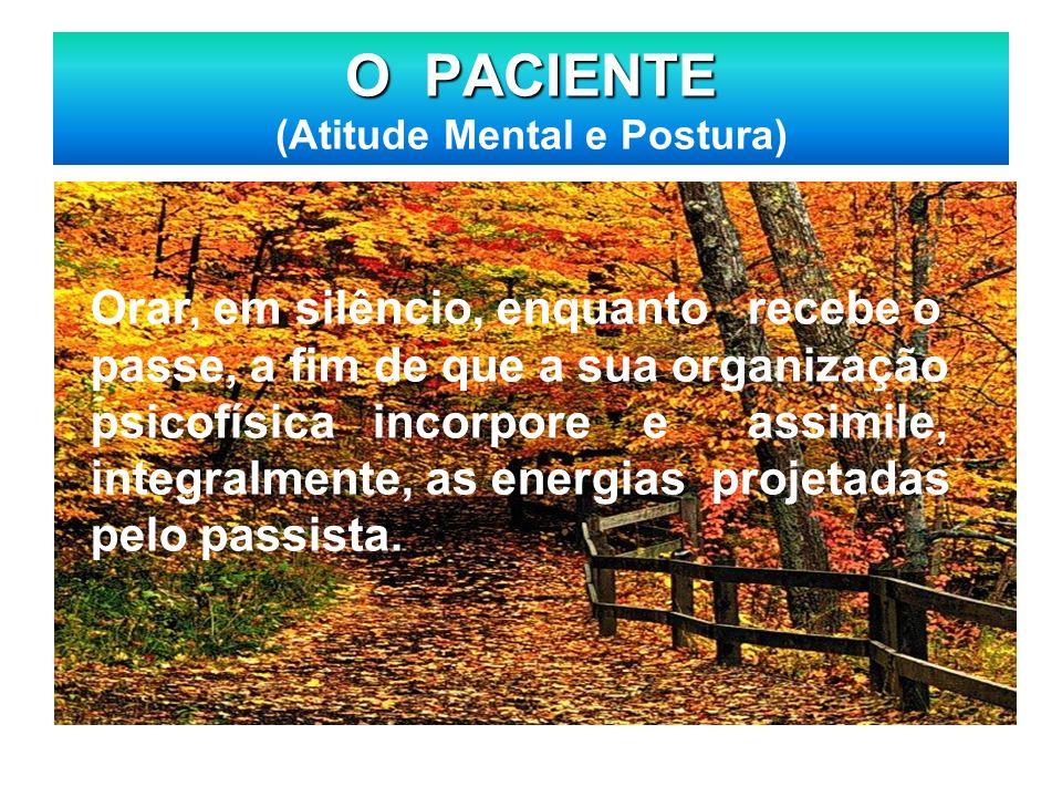 O PACIENTE O PACIENTE (Atitude Mental e Postura) Orar, em silêncio, enquanto recebe o passe, a fim de que a sua organização psicofísica incorpore e as