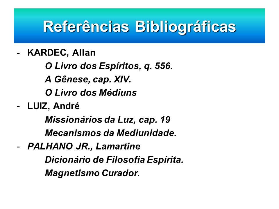 Referências Bibliográficas -KARDEC, Allan O Livro dos Espíritos, q. 556. A Gênese, cap. XIV. O Livro dos Médiuns -LUIZ, André Missionários da Luz, cap