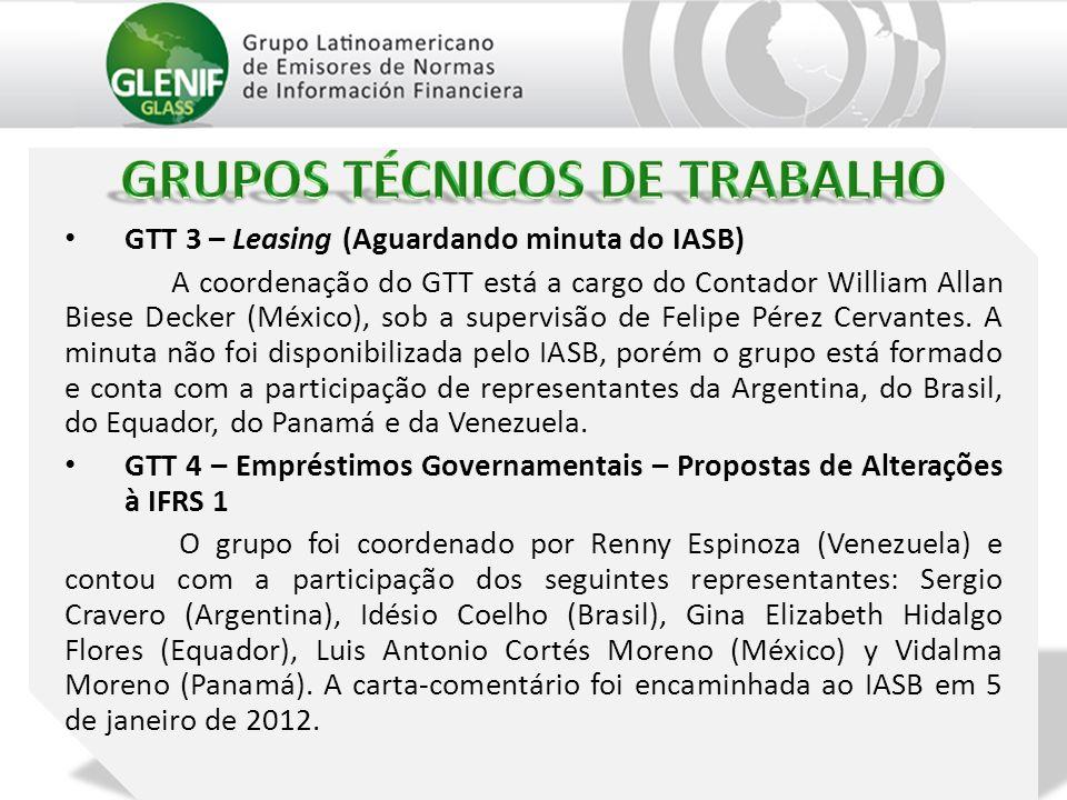 GTT 3 – Leasing (Aguardando minuta do IASB) A coordenação do GTT está a cargo do Contador William Allan Biese Decker (México), sob a supervisão de Felipe Pérez Cervantes.