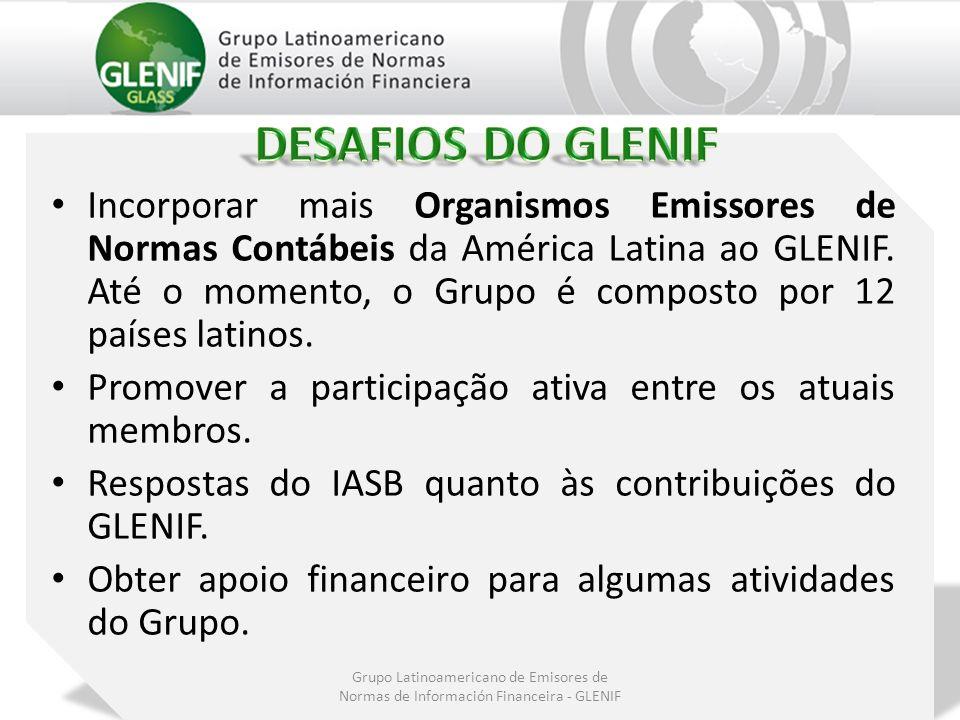 Incorporar mais Organismos Emissores de Normas Contábeis da América Latina ao GLENIF. Até o momento, o Grupo é composto por 12 países latinos. Promove