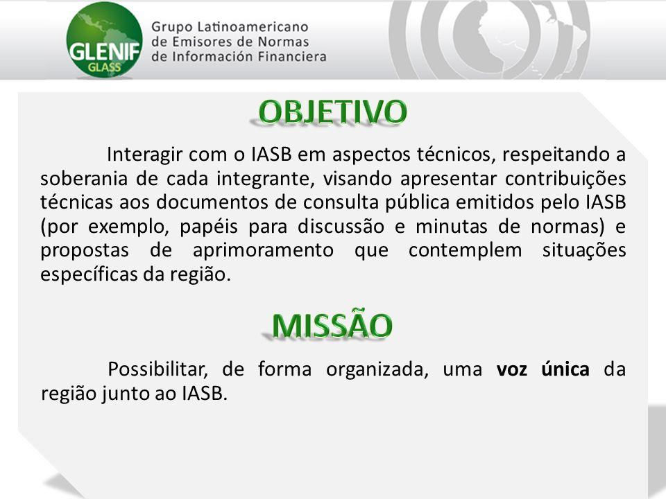 Interagir com o IASB em aspectos técnicos, respeitando a soberania de cada integrante, visando apresentar contribuições técnicas aos documentos de consulta pública emitidos pelo IASB (por exemplo, papéis para discussão e minutas de normas) e propostas de aprimoramento que contemplem situações específicas da região.