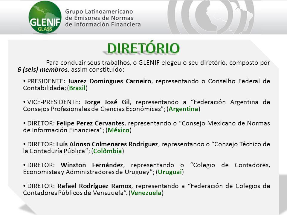 Para conduzir seus trabalhos, o GLENIF elegeu o seu diretório, composto por 6 (seis) membros, assim constituído: PRESIDENTE: Juarez Domingues Carneiro