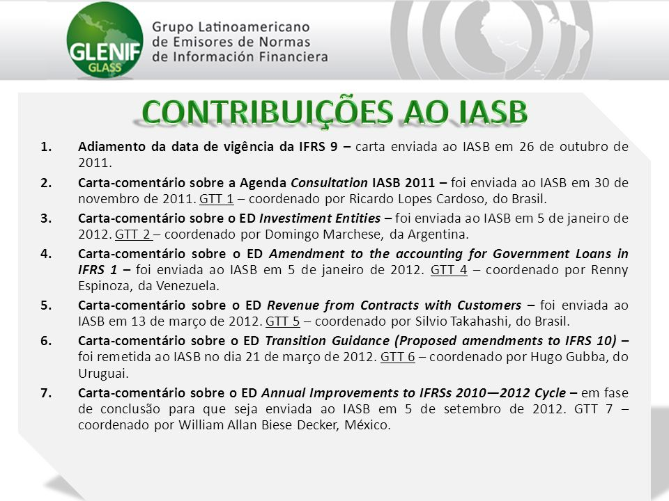 1.Adiamento da data de vigência da IFRS 9 – carta enviada ao IASB em 26 de outubro de 2011. 2.Carta-comentário sobre a Agenda Consultation IASB 2011 –