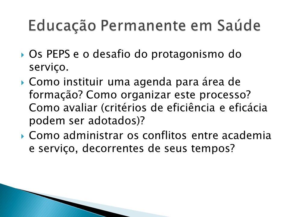 Os PEPS e o desafio do protagonismo do serviço. Como instituir uma agenda para área de formação? Como organizar este processo? Como avaliar (critérios