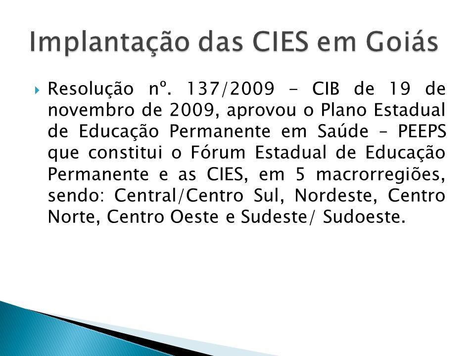 Resolução nº. 137/2009 - CIB de 19 de novembro de 2009, aprovou o Plano Estadual de Educação Permanente em Saúde – PEEPS que constitui o Fórum Estadua