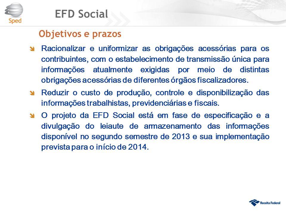 EFD Social Racionalizar e uniformizar as obrigações acessórias para os contribuintes, com o estabelecimento de transmissão única para informações atua
