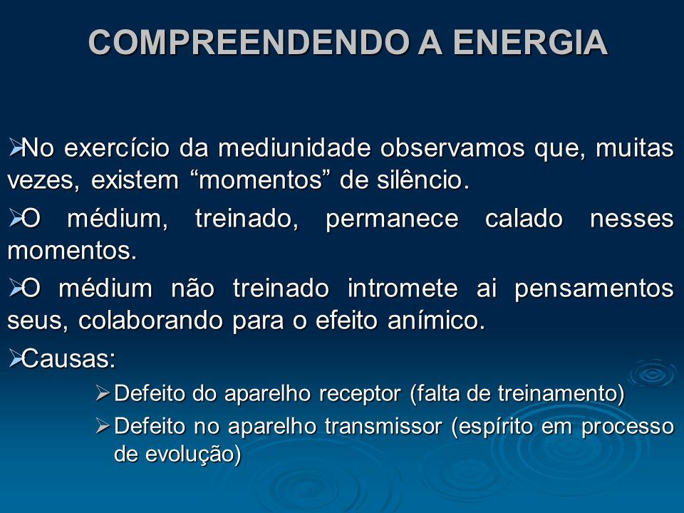 COMPREENDENDO A ENERGIA No exercício da mediunidade observamos que, muitas vezes, existem momentos de silêncio. No exercício da mediunidade observamos