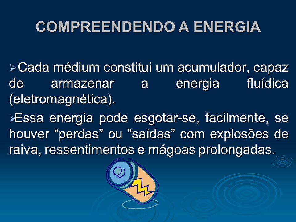 COMPREENDENDO A ENERGIA Cada médium constitui um acumulador, capaz de armazenar a energia fluídica (eletromagnética). Cada médium constitui um acumula