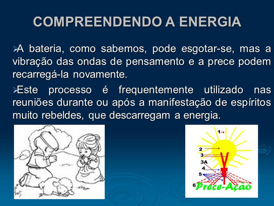 COMPREENDENDO A ENERGIA A bateria, como sabemos, pode esgotar-se, mas a vibração das ondas de pensamento e a prece podem recarregá-la novamente. A bat