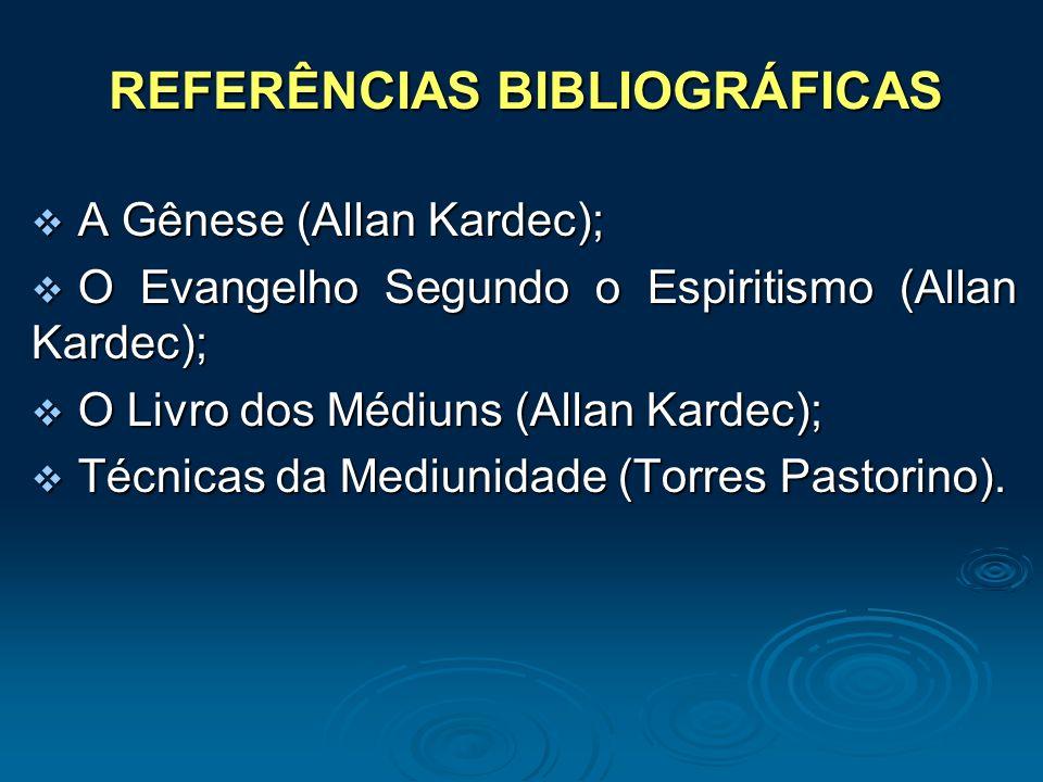 REFERÊNCIAS BIBLIOGRÁFICAS A Gênese (Allan Kardec); A Gênese (Allan Kardec); O Evangelho Segundo o Espiritismo (Allan Kardec); O Evangelho Segundo o E