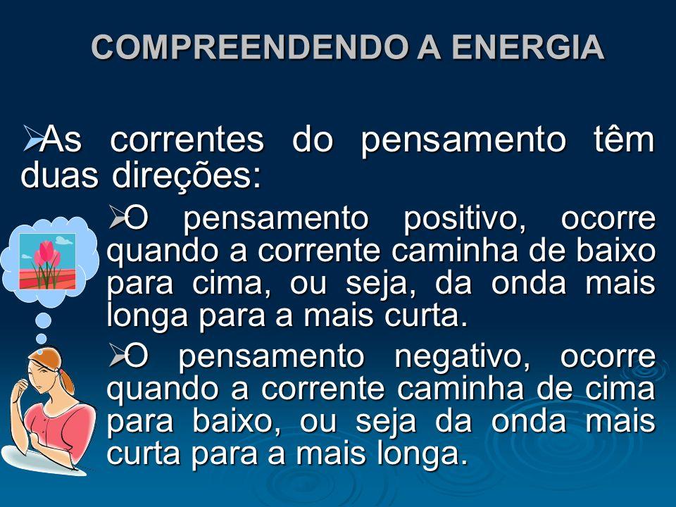 COMPREENDENDO A ENERGIA COMPREENDENDO A ENERGIA As correntes do pensamento têm duas direções: As correntes do pensamento têm duas direções: O pensamen