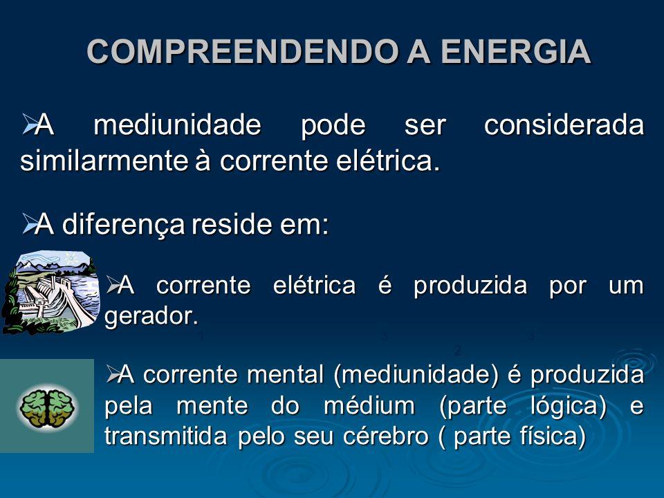 COMPREENDENDO A ENERGIA COMPREENDENDO A ENERGIA A mediunidade pode ser considerada similarmente à corrente elétrica. A mediunidade pode ser considerad