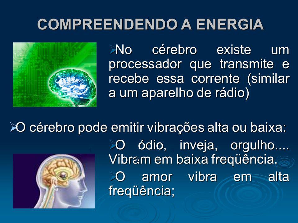 COMPREENDENDO A ENERGIA No cérebro existe um processador que transmite e recebe essa corrente (similar a um aparelho de rádio) No cérebro existe um pr