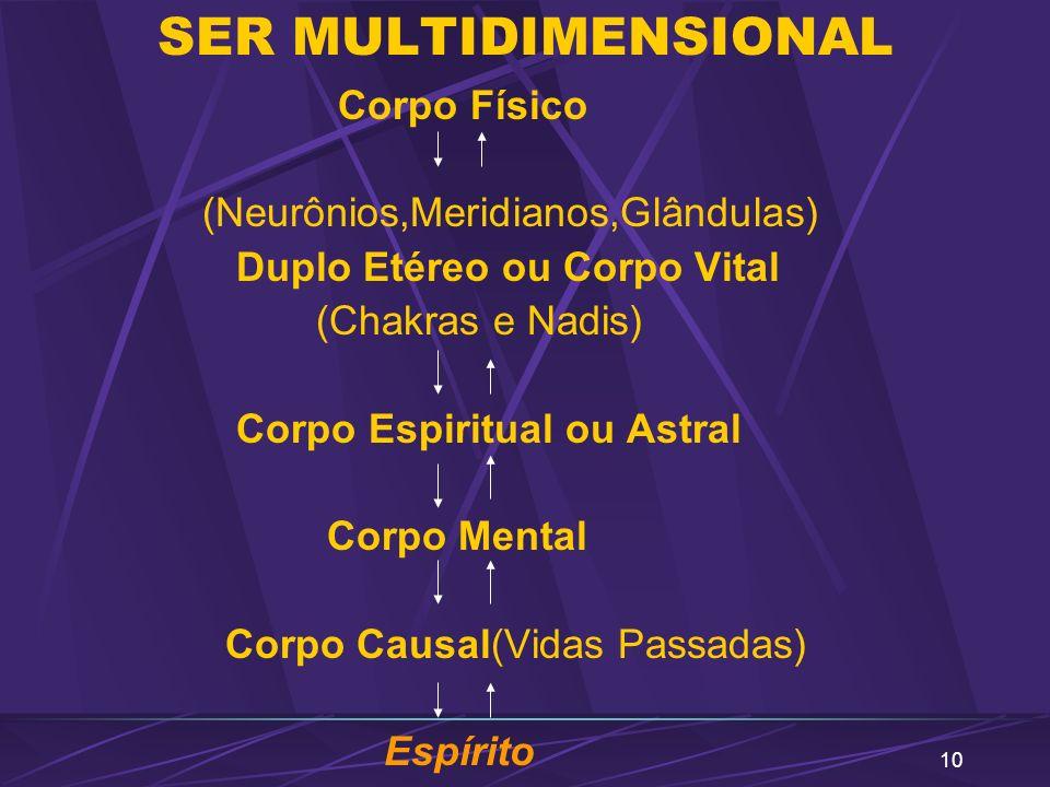 10 SER MULTIDIMENSIONAL Corpo Físico (Neurônios,Meridianos,Glândulas) Duplo Etéreo ou Corpo Vital (Chakras e Nadis) Corpo Espiritual ou Astral Corpo M