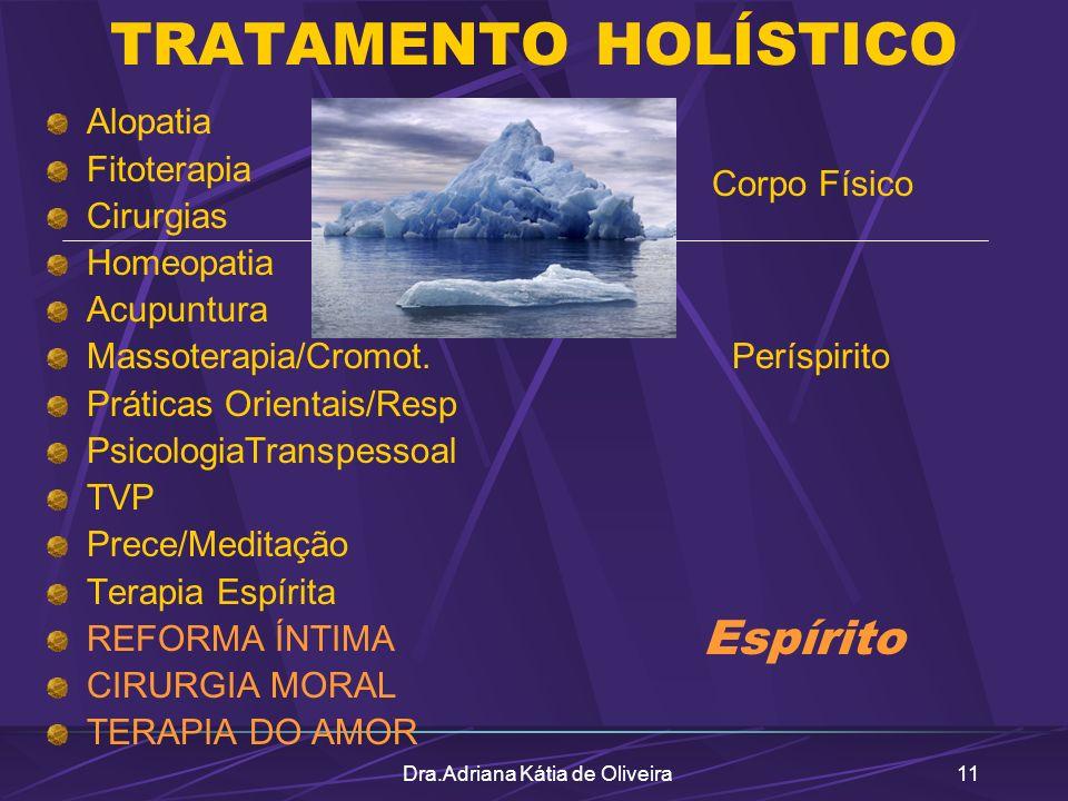 Dra.Adriana Kátia de Oliveira11 TRATAMENTO HOLÍSTICO Alopatia Fitoterapia Cirurgias Homeopatia Acupuntura Massoterapia/Cromot. Práticas Orientais/Resp