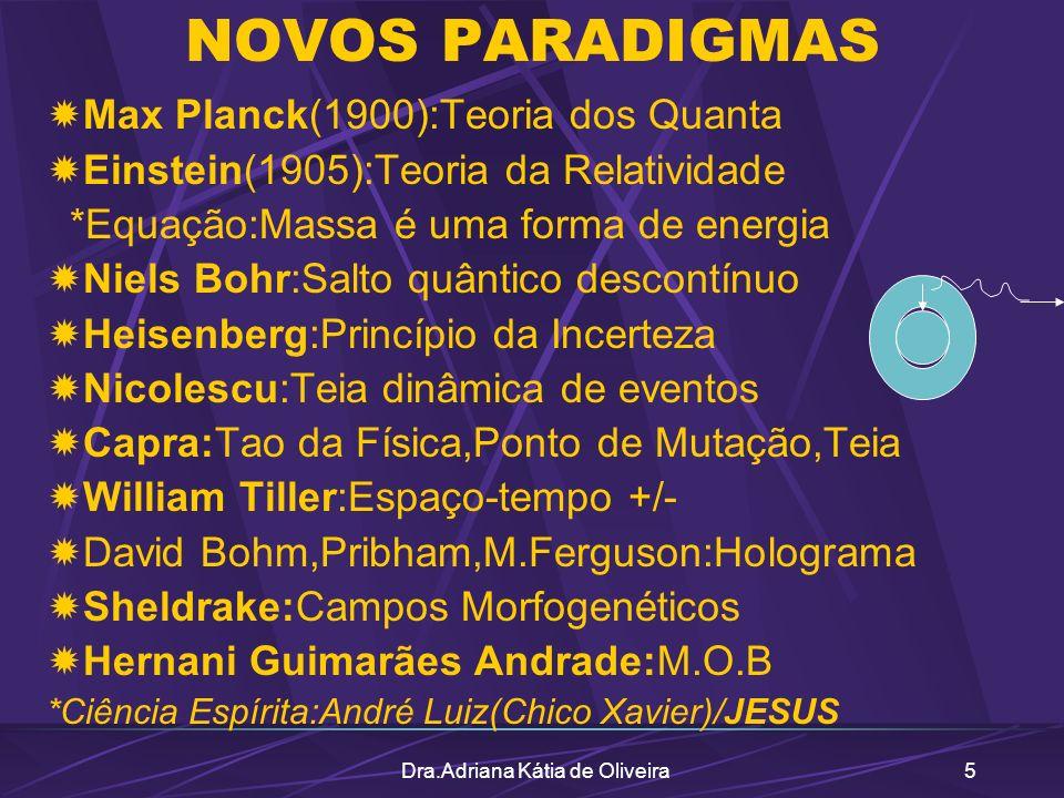 Dra.Adriana Kátia de Oliveira5 NOVOS PARADIGMAS Max Planck(1900):Teoria dos Quanta Einstein(1905):Teoria da Relatividade *Equação:Massa é uma forma de