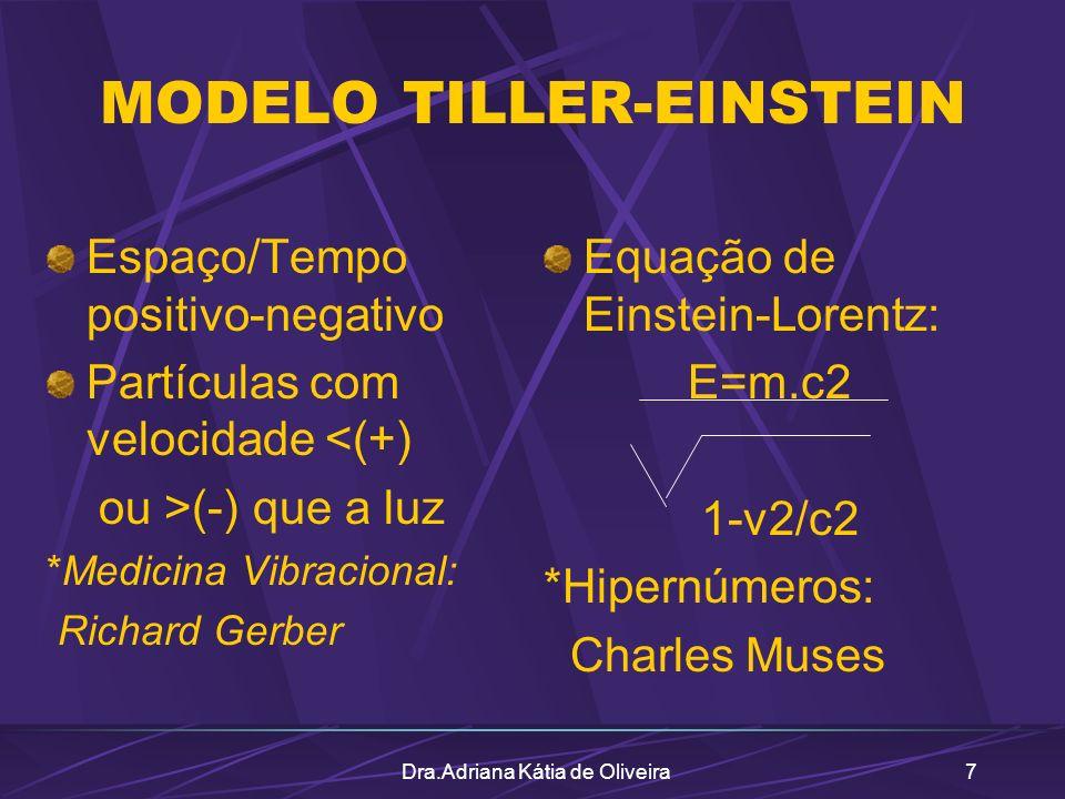 Dra.Adriana Kátia de Oliveira7 MODELO TILLER-EINSTEIN Espaço/Tempo positivo-negativo Partículas com velocidade <(+) ou >(-) que a luz *Medicina Vibrac