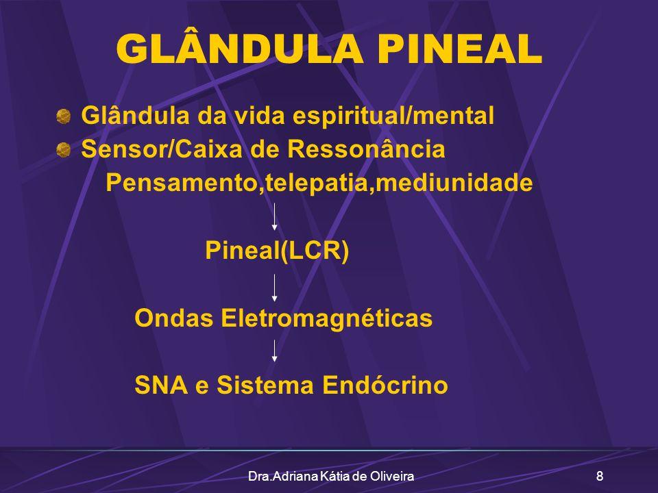 Dra.Adriana Kátia de Oliveira8 GLÂNDULA PINEAL Glândula da vida espiritual/mental Sensor/Caixa de Ressonância Pensamento,telepatia,mediunidade Pineal(