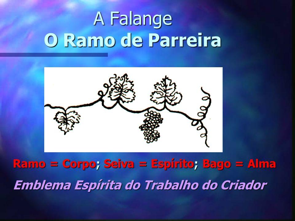 A Falange O Ramo de Parreira Ramo = Corpo; Seiva = Espírito; Bago = Alma Emblema Espírita do Trabalho do Criador