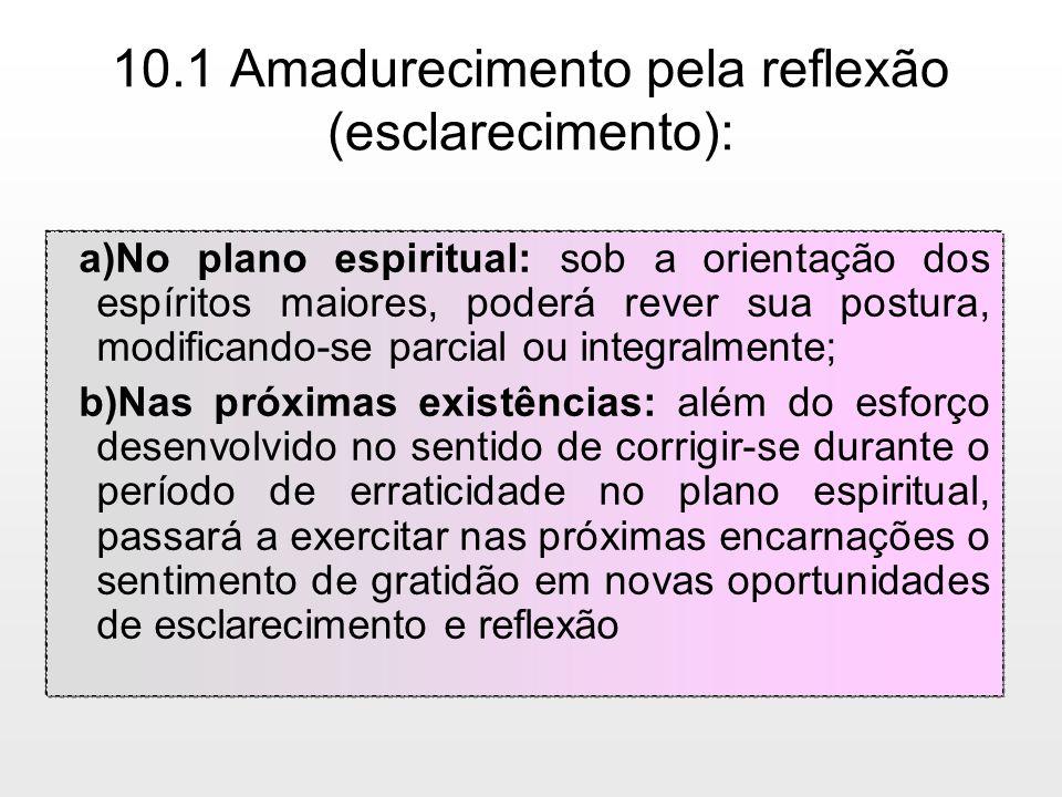 10.1 Amadurecimento pela reflexão (esclarecimento): a)No plano espiritual: sob a orientação dos espíritos maiores, poderá rever sua postura, modifican