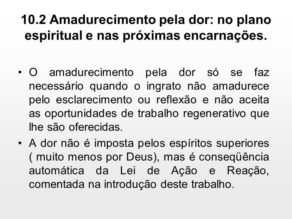 10.2 Amadurecimento pela dor: no plano espiritual e nas próximas encarnações. O amadurecimento pela dor só se faz necessário quando o ingrato não amad