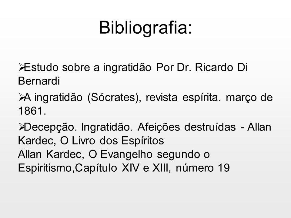 Bibliografia: Estudo sobre a ingratidão Por Dr. Ricardo Di Bernardi A ingratidão (Sócrates), revista espírita. março de 1861. Decepção. Ingratidão. Af