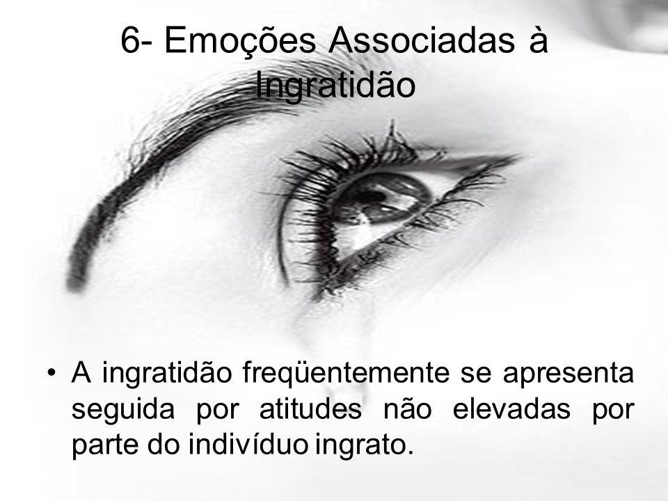 A ingratidão freqüentemente se apresenta seguida por atitudes não elevadas por parte do indivíduo ingrato. 6- Emoções Associadas à Ingratidão