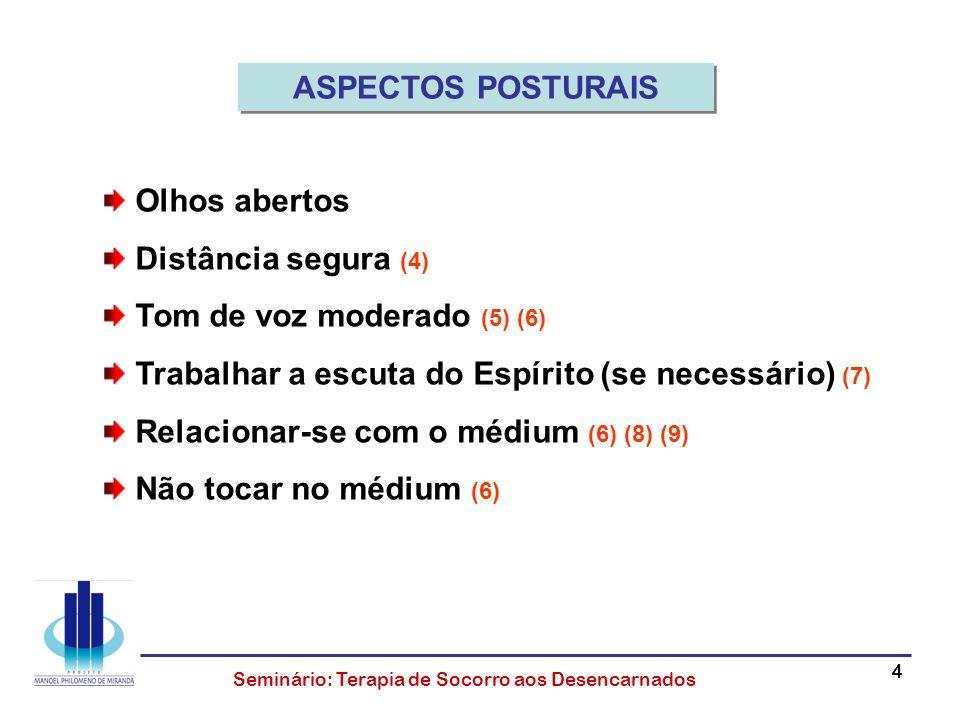 44444 Seminário: Terapia de Socorro aos Desencarnados Olhos abertos Distância segura (4) Tom de voz moderado (5) (6) Trabalhar a escuta do Espírito (s