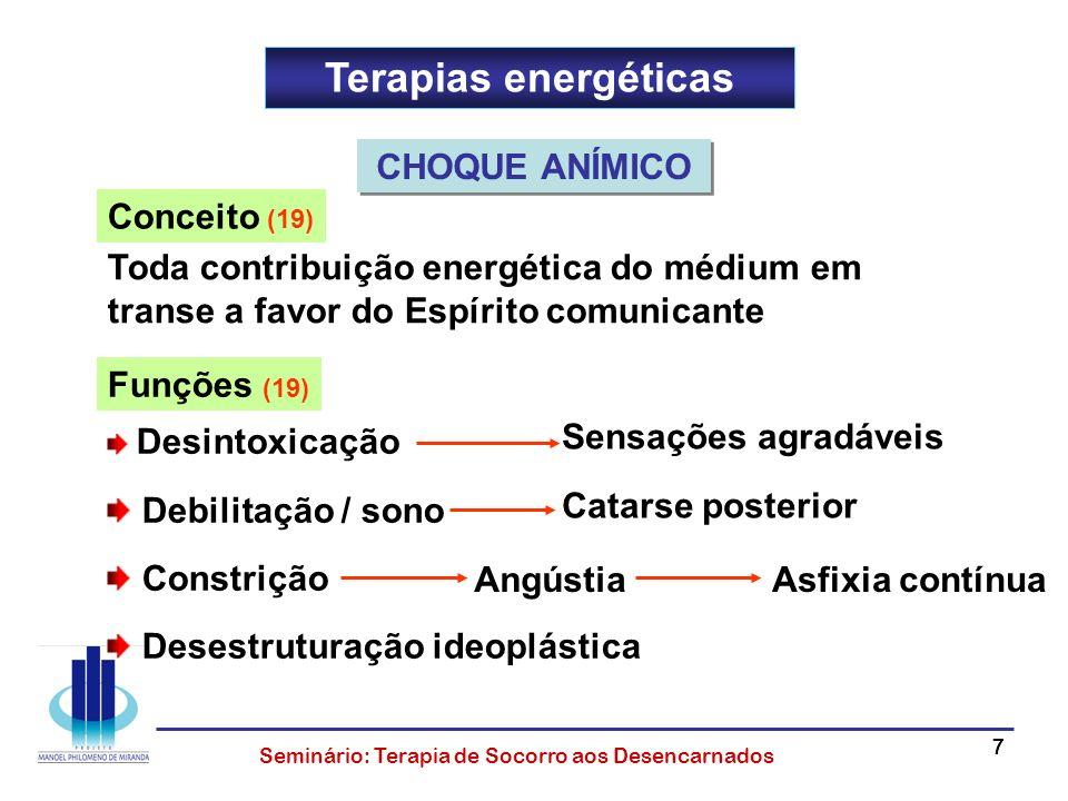 77777 Seminário: Terapia de Socorro aos Desencarnados Terapias energéticas Conceito (19) Toda contribuição energética do médium em transe a favor do E