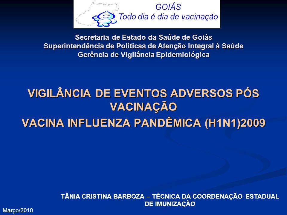 VIGILÂNCIA DE EVENTOS ADVERSOS PÓS VACINAÇÃO VACINA INFLUENZA PANDÊMICA (H1N1)2009 GOIÁS Todo dia é dia de vacinação Março/2010 Secretaria de Estado d