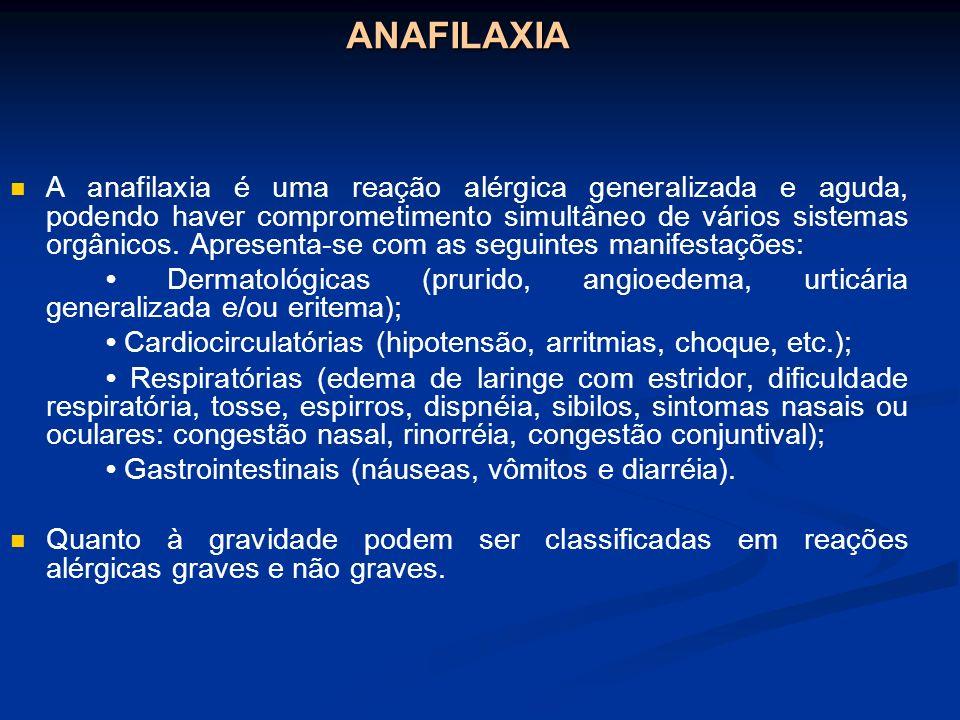 ANAFILAXIA A anafilaxia é uma reação alérgica generalizada e aguda, podendo haver comprometimento simultâneo de vários sistemas orgânicos. Apresenta-s