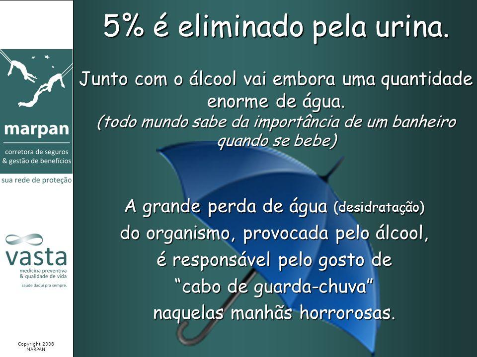 5% é eliminado pela urina. A grande perda de água (desidratação) do organismo, provocada pelo álcool, é responsável pelo gosto de cabo de guarda-chuva
