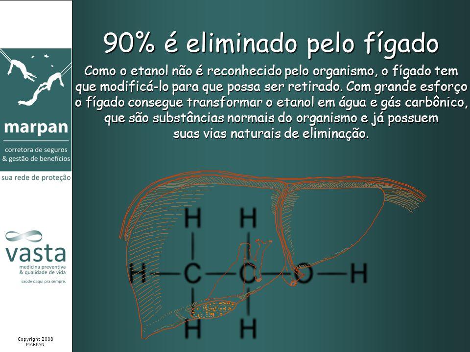 90% é eliminado pelo fígado Como o etanol não é reconhecido pelo organismo, o fígado tem que modificá-lo para que possa ser retirado. Com grande esfor