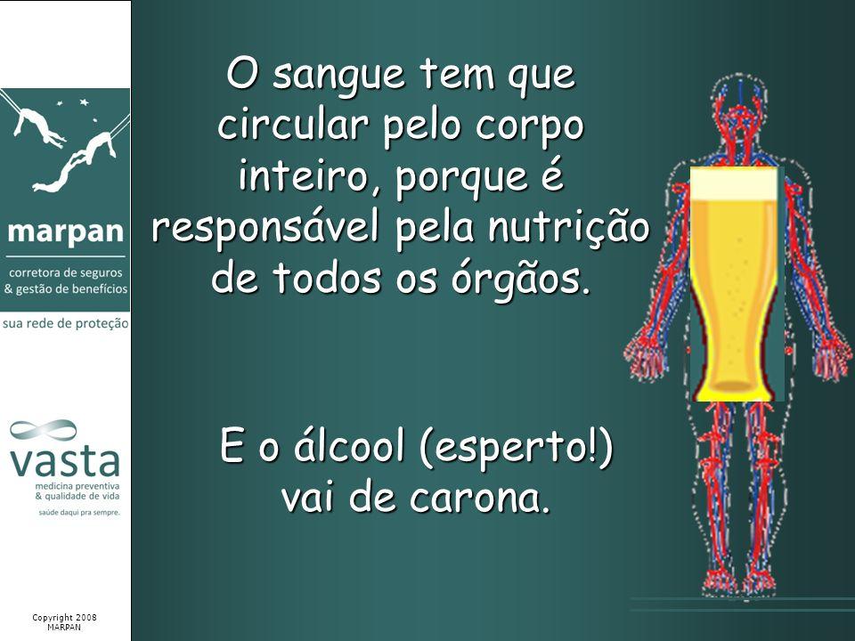 O sangue tem que circular pelo corpo inteiro, porque é responsável pela nutrição de todos os órgãos. E o álcool (esperto!) vai de carona. Copyright 20