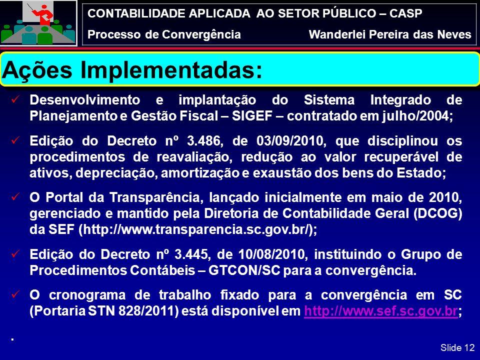 CONTABILIDADE APLICADA AO SETOR PÚBLICO – CASP Processo de ConvergênciaWanderlei Pereira das Neves SC – Início dos trabalhos para a Convergência VOLUM