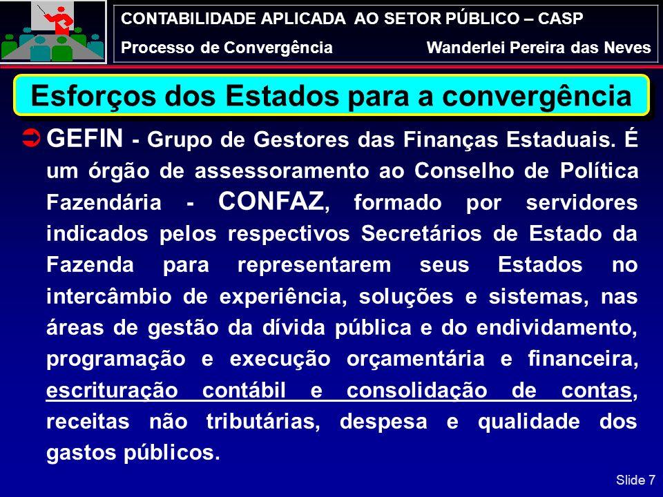 CONTABILIDADE APLICADA AO SETOR PÚBLICO – CASP Processo de ConvergênciaWanderlei Pereira das Neves GEFIN - Grupo de Gestores das Finanças Estaduais.