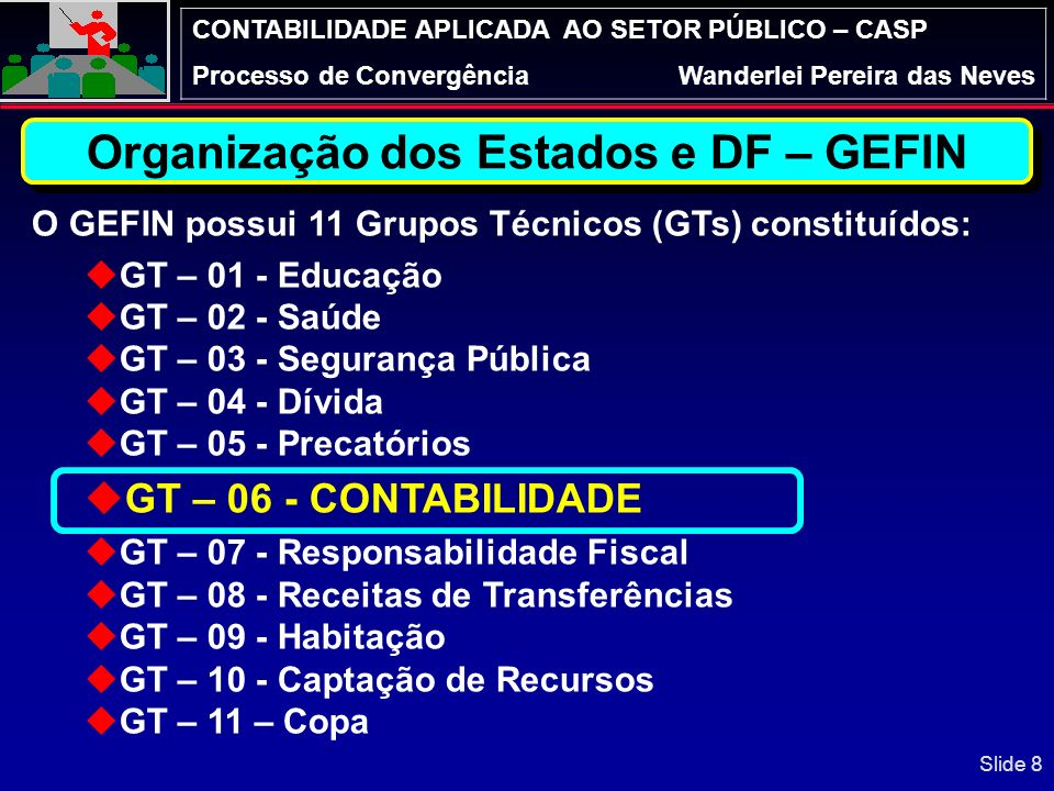 CONTABILIDADE APLICADA AO SETOR PÚBLICO – CASP Processo de ConvergênciaWanderlei Pereira das Neves Slide 18
