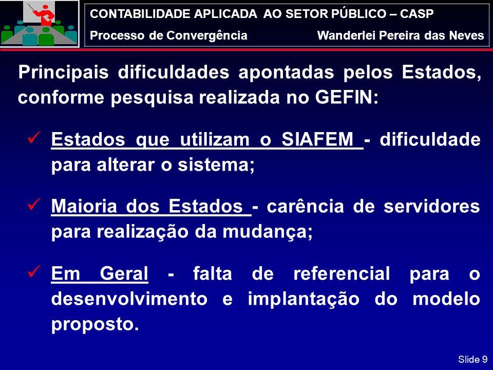 CONTABILIDADE APLICADA AO SETOR PÚBLICO – CASP Processo de ConvergênciaWanderlei Pereira das Neves O GEFIN possui 11 Grupos Técnicos (GTs) constituído