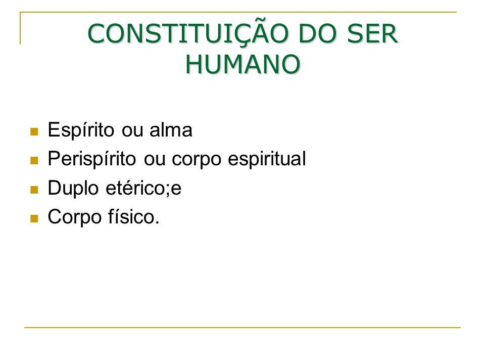 CONSTITUIÇÃO DO SER HUMANO Espírito ou alma Perispírito ou corpo espiritual Duplo etérico;e Corpo físico.